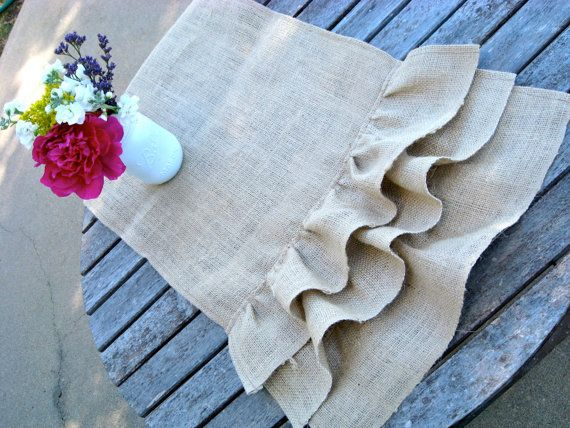 I like the idea of table runners instead of an entire tablecloth. Depends on the tables, I guess. Like the burlap; still undecided on the ruffles.: Burlap Ruffles, Etsy, Wedding Ideas, Burlap Table Runners, Burlap Ideas, Burlap Runners, Triple Ruffle, Craft Ideas