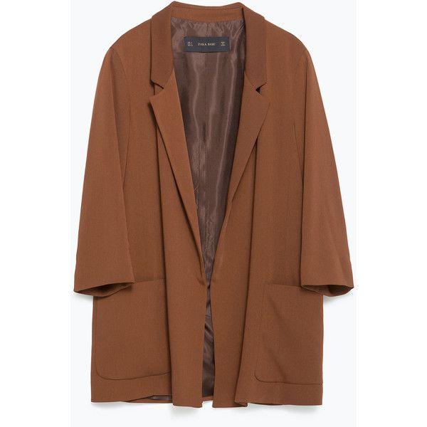 Zara Loose Fit Blazer (260 SAR) ❤ liked on Polyvore featuring outerwear, jackets, blazers, blazer, coats & jackets, light brown, brown jacket, lined jacket, zara blazer and zara jacket
