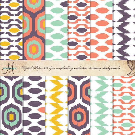 Ikat Digital Paper Patterns, Turquoise, Coral, Mustard Yellow and Purple - Quantity 12 on Etsy, $3.00