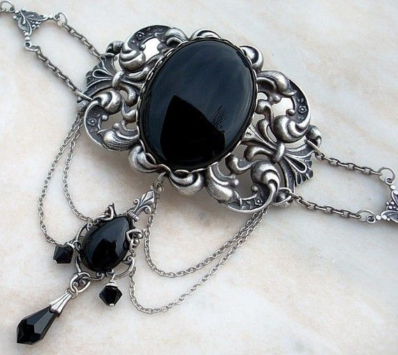 Black Gothic Jewelry Set Victorian Gothic Choker