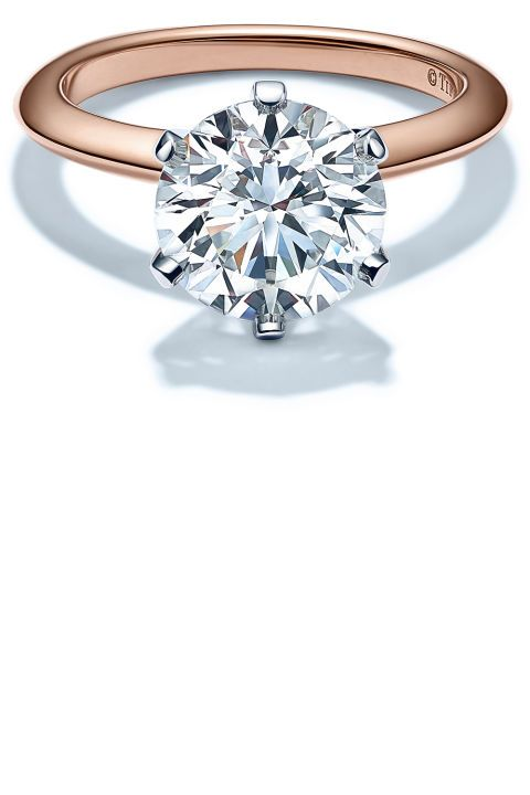 Rose Gold Engagement Rings: The iconic house recreated their namesake setting in 18K rose–just in time for engagement season.Tiffany & Co. Tiffany setting engagement ring in 18K rose gold, price upon request, tiffany.com.