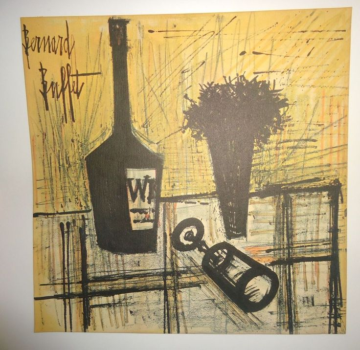 Old Lithograph Bernard Buffet Abstract Still Life on Older Paper #Abstract