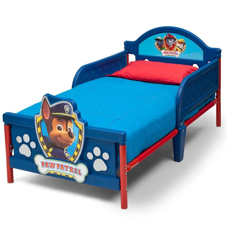 Fight bedtime blues with the Nickelodeon Paw Patrol Plastic 3D Toddler Bed from Delta Children. Sporting adorable artwork of Chase, Marshall and Rocky, it instantly transports any bedroom into a magical world. Boasting a sturdy steel and plastic frame, guardrails on both sides and fun 3D graphics at the footboard, this sweet blue bed is a must-have for any PAW Patrol fan. Recommended for ages 15 months and above/holds up to 50 pounds. This toddler bed accommodates a standard crib mattres...