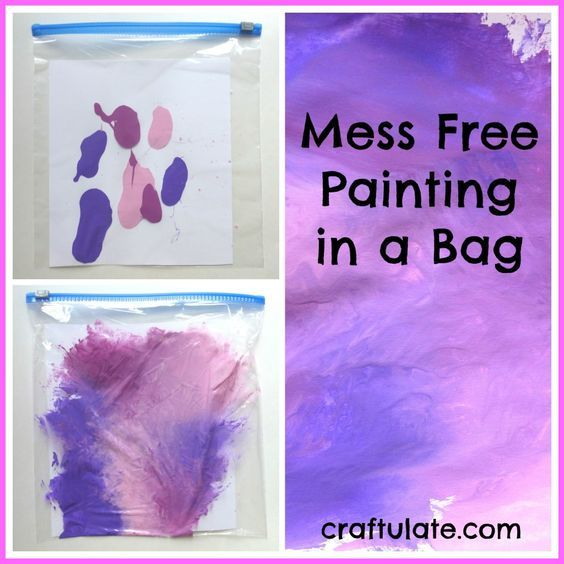 Mess Free Painting in a Bag - perfect art activity for toddlers!