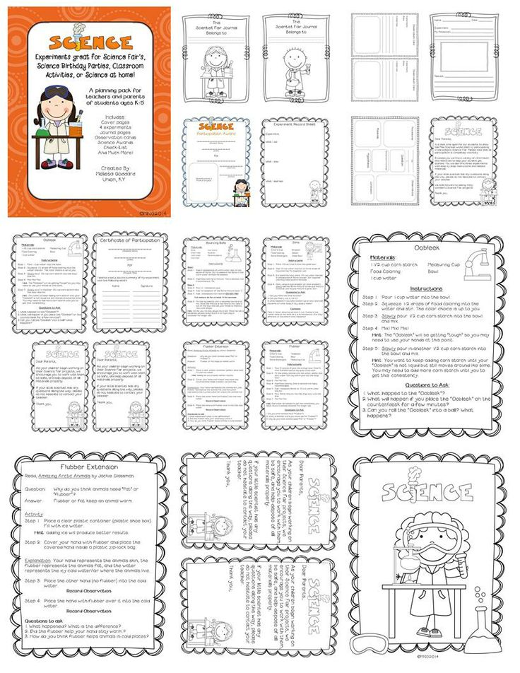 Science Experiments for Science Fair Projects, Science Birthday parties, homeschool, and more!  Very printer friendly!  http://www.teacherspayteachers.com/Product/Science-Experiments-great-for-Science-Fairs-Science-Bday-Parties-homeschool-1166370