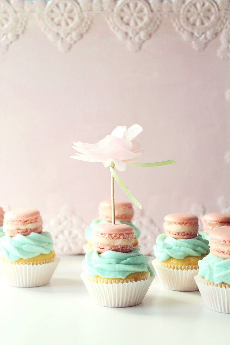 Icing Designs: Mini French Macaron Cupcake Toppers..cute idea for shower..maybe if you don't know the sex of the baby