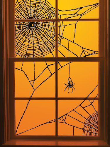 diy halloween spiderweb window decoration its just black yarn scotch tape - Halloween Window Decoration