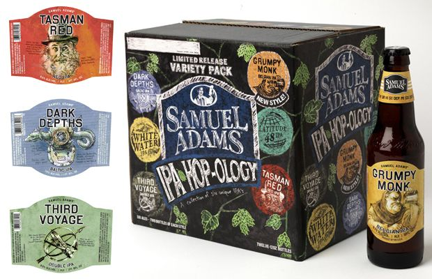 Samuel Adams Launches IPA Variety Pack With Illustrated Labels And Chalk Art Packaging: Adam Packaging, Creative Packaging Design, Sam Adam, Beer Packaging, Adam Ipa, Adam Hop Olog, Packaging Artworks, Samuel Adam, 02 Packaging