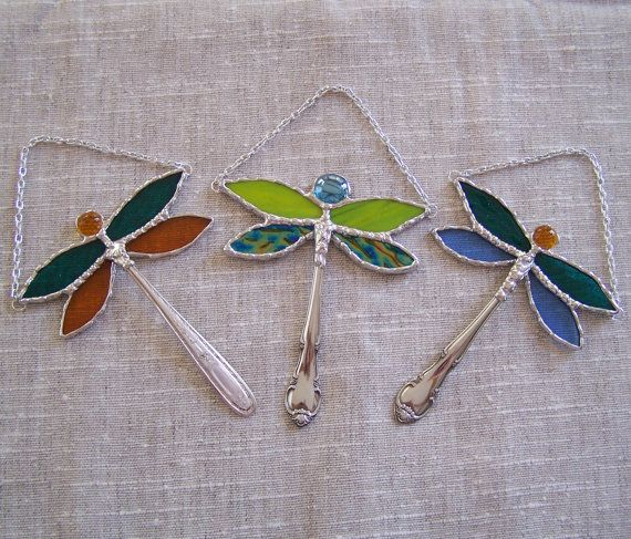 Stained Glass Dragonfly Ornament Suncatcher Window Hanging - Etsy, PineTreeGlassWorks
