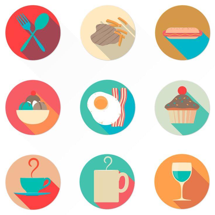 Flat food icons | Oxygenna Web Design