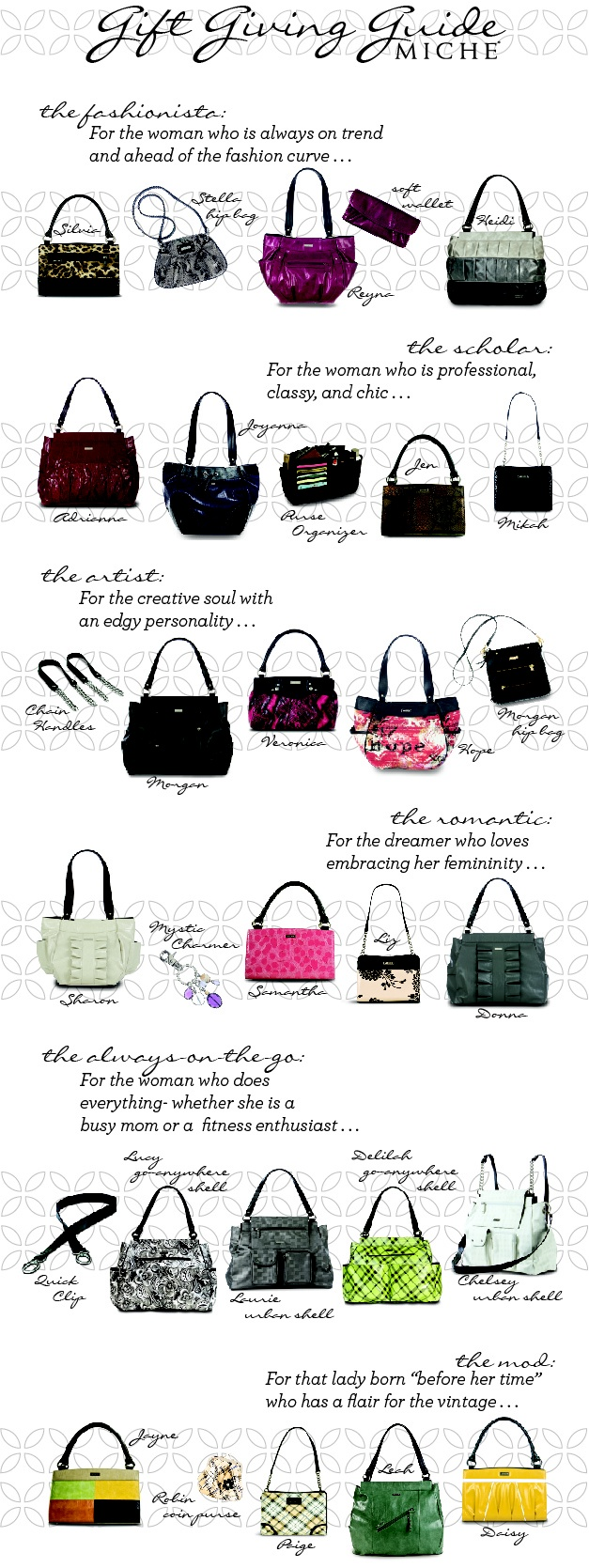 Miche Bag ...You can get this at www.needmore.miche.com Miche...Buy it, Love it, Obsess!!! You deserve it! I love my Miche! You can too! Join my Miche Team today!