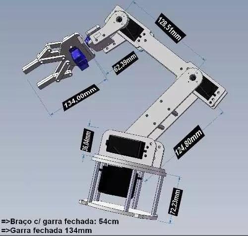 kit p/ montar braço robótico c/ garra arduino pic