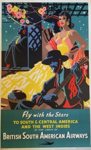 Fly with the Stars. British South American #Airways  Auction on friday 15th september 2017. Damien Voglaire. www.ferraton.be  #Affiches #Posters