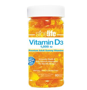 Slice of Life Vitamin D3 Gummy: Adult daily supplement of Vitamin D3 to support absorption of calcium for optimal bone health. Vitamin D, the sunshine vitamin, plays a major role in the general overall maintenance of health.