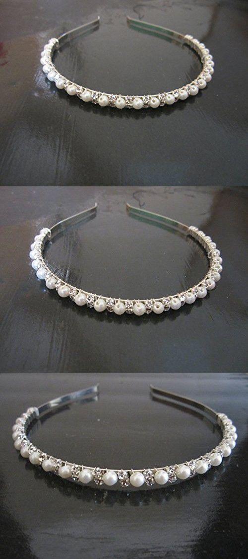 Elegant Wedding Bridal Silver Crystal Rhinestone Pearl Headband Hair Band