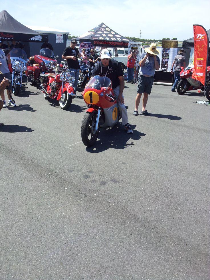 MV Agusta Agostini Replica on display at Phillip Island Grand Prix Circuit - Island Classic Race Meeting 2014.