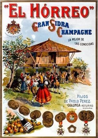 Anuncio de 1910 de EL HORREO, gran sidra champagne de Colunga.  Esta marca que patrocinó al Gaitero de Libardón en sus inicios internacionales. Con ella fue a La Expo de París en 1900