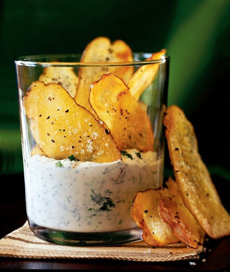 Baked Garlic & Olive Oil Potato Chips with a Herb & Parmesan Cheese Dip {Link for the dip: http://www.oprah.com/food/Herb-and-Cheese-Dip-Recipe }
