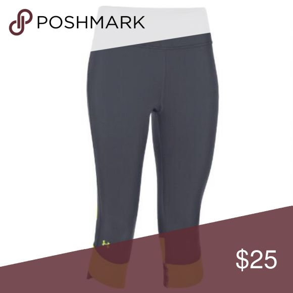 Under Armour Fly-By Womens Capri Legging Capri Running Leggings by Under Armour / Phantom Grey w/ reflective neon green color block accents/ poly/elastane / Worn only a few times - like new Under Armour Pants Leggings