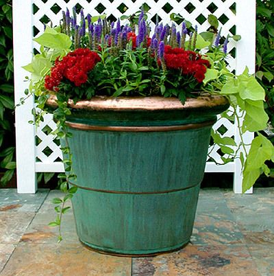 Large Flower Planter Ideas | ... Copper Rolled Rim Planters, Rolled Rim  Planters