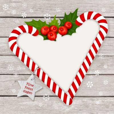 zuurstok Kerst hart, plaats je eigen gedicht of liefdevolle wens!