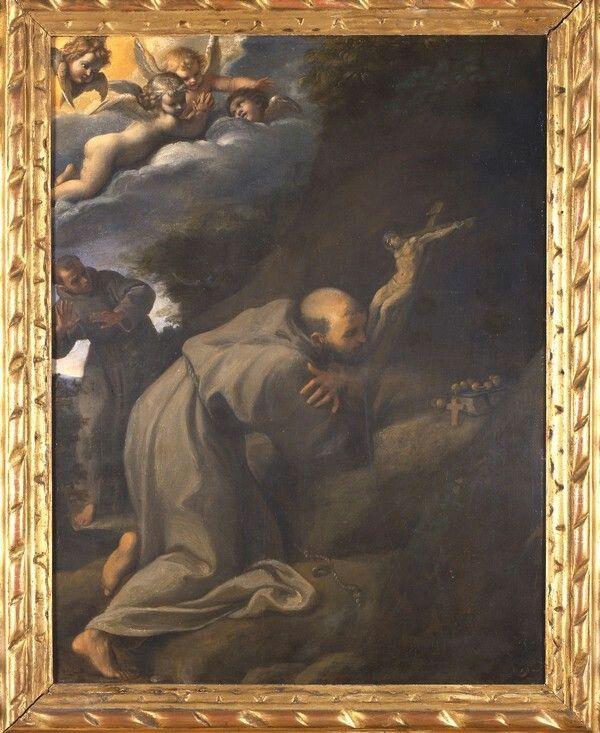 San Francesco in adorazione del Crocifisso 1598  Pinacoteca Nazionale di Bologna.  Dipinto su rame a Roma durante la decorazione di Palazzo Farnese