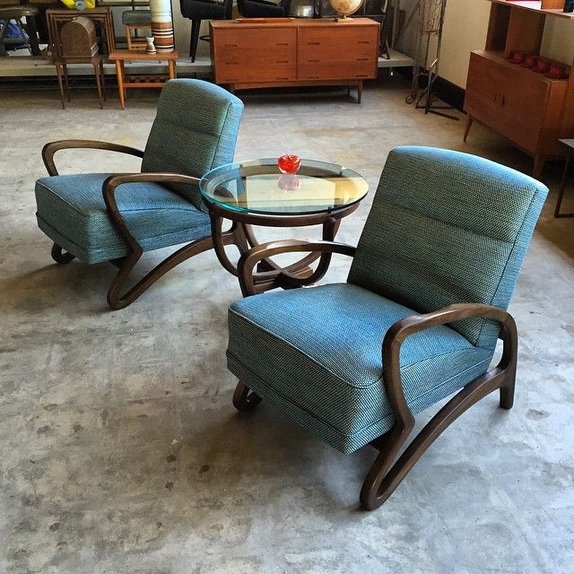 Gorgeous bespoke armchairs and sidetable by Jacob Rudowski in the 1960s. I just finished restoring.