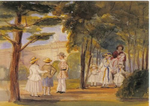 Art card showing a painting from the British Royal Collection, sent to the USA.