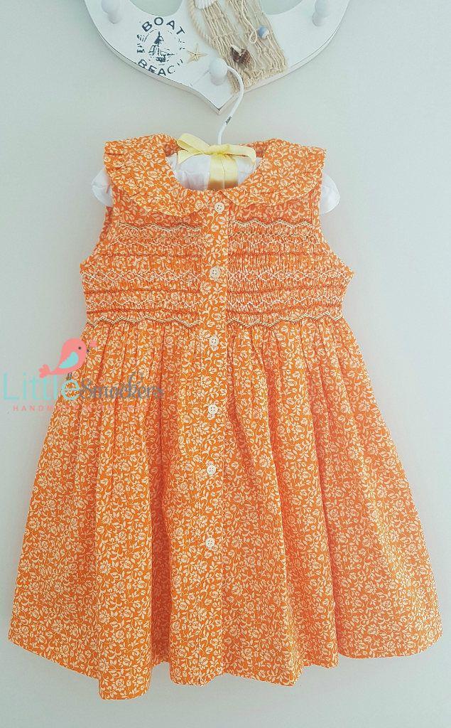 Beautiful Orange floral hand smocked dress by LittleSmock on Etsy