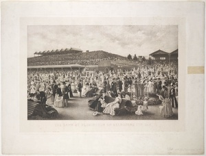 The lawn at Flemington on Melbourne Cup Day, 1889, photogravure by Goupil from a painting by Carl Kahler.                            For more information about this picture http://acms.sl.nsw.gov.au/item/itemDetailPaged.aspx?itemID=455738    To check out more interesting material at the State Library of New South Wales http://www.sl.nsw.gov.au/