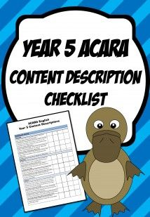 Year 5 Content Description Checklists