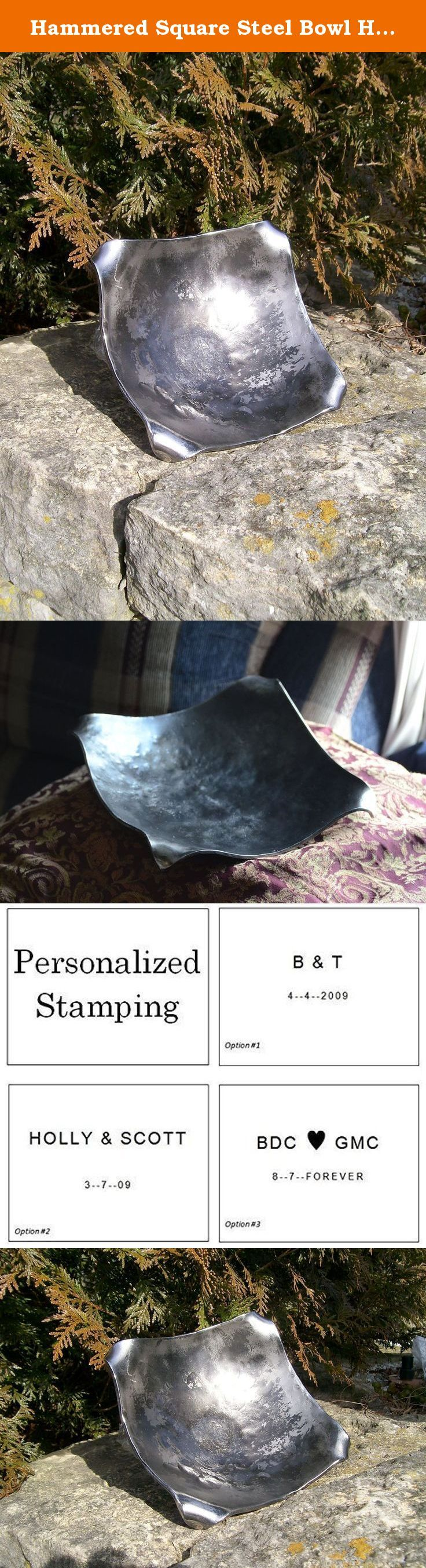Hammered Square Steel Bowl Hand Forged Metal Bowl Blacksmith Made Hammered Bowl Steel Vessel Dish Gift for Him for Men Steel Gifts. Fantastic hand forged steel bowl! Blacksmith made at Christ Centered Ironworks. This DARING square bowl will make a IMMENSE statement in your home or office... The lightly marbled hammer texture with rolled corners lends an down to earth feel to this piece of art. This vessel is available in multiple sizes to perfectly meet your needs... whether as a serving...