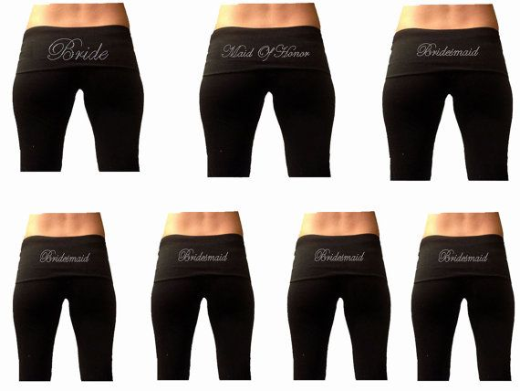 Custom Bridal Party Black Fold Over Yoga Pants by TheComfortBride, $123.99