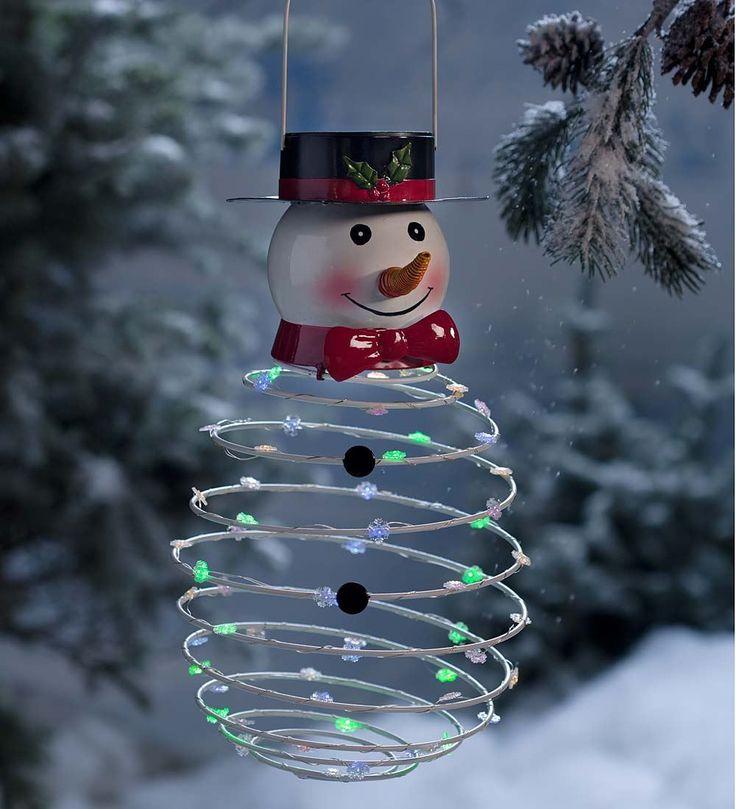 Solar Powered Lighted Snowman | Winter Decor | Plow & Hearth