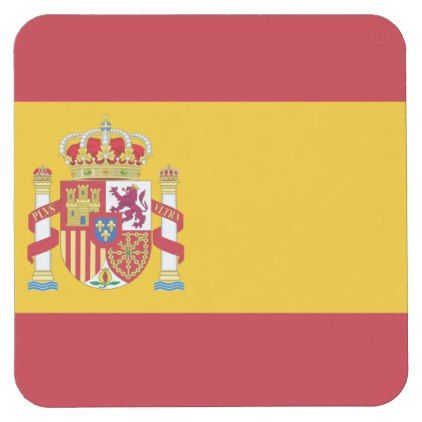 #posavasos Spanish flag Square Paper Coaster - #country gifts style diy gift ideas