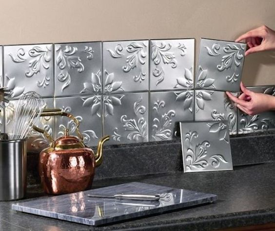 Faux Tin Tiles Made With Cookie Sheets. Tin Tile BacksplashCheap Kitchen ...