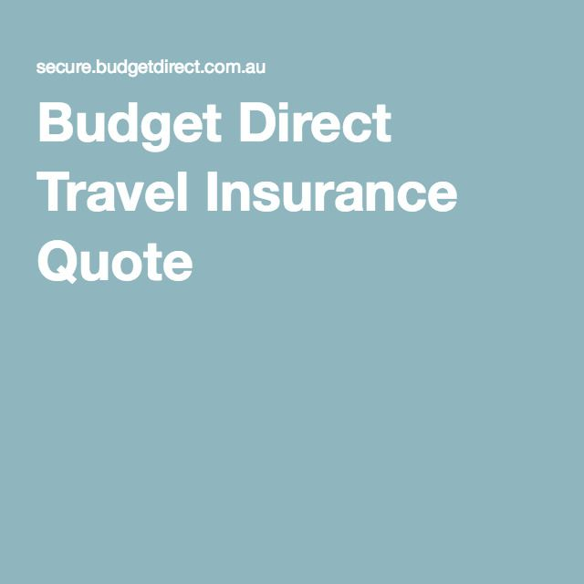 Budget Direct Travel Insurance Quote