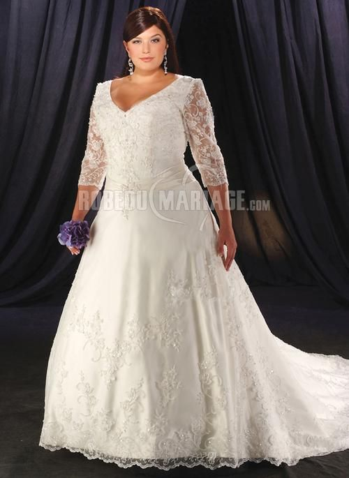 Robe de mariée grande taille col en v dentelle manches mi-longue [#ROBE209945] - robedumariage.com