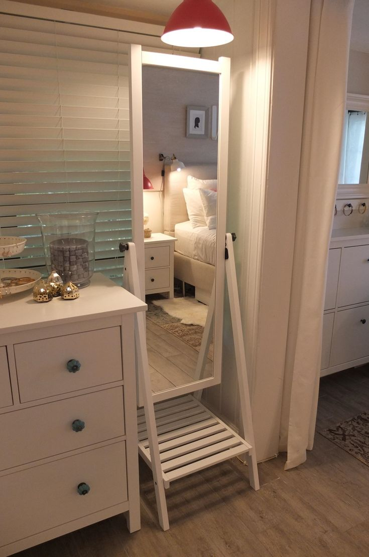 when you donu0027t have wall space for a fulllength mirror chose the ikea isfjorden standing floor mirror it also has side knobs for hanging belts and