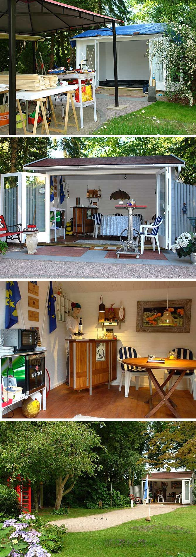 Unser Kunde Herr K. suchte ein Gartenhaus, das zum Clubhaus eines Boule-Clubs werden sollte. Wir zeigen den Aufbau, die gemütliche Einrichtung und das fertige Clubhaus: bei Tag, bei Nacht und in verschiedenen Jahreszeiten.