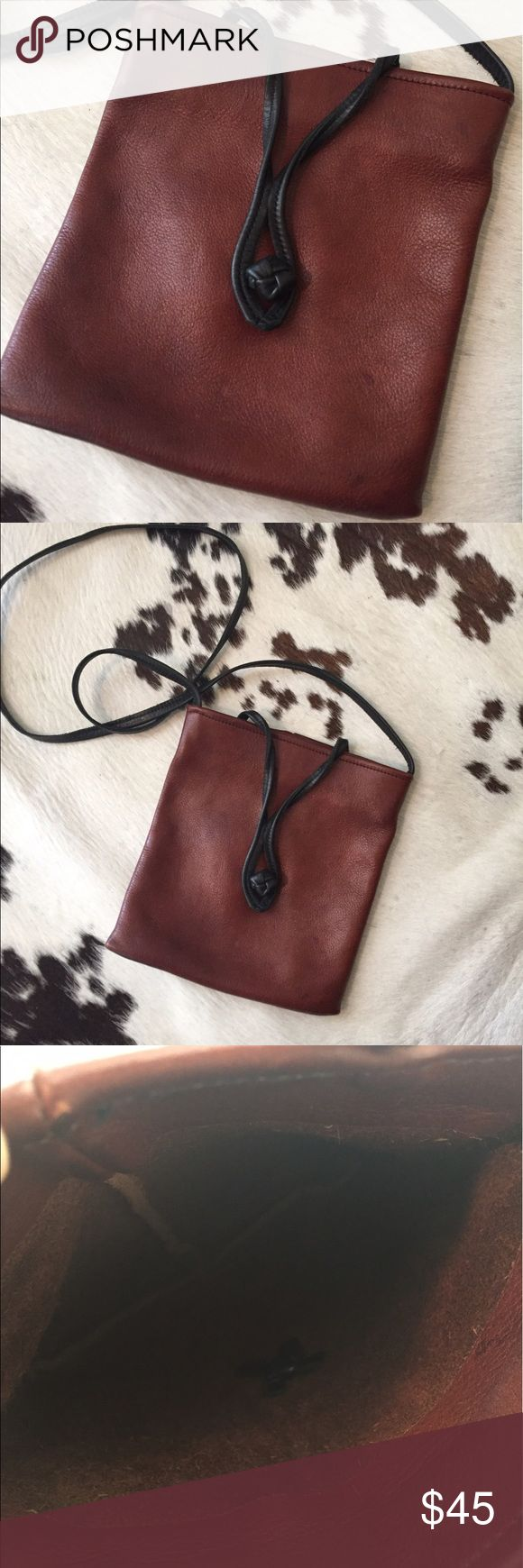 "Buttery leather festival bag This vintage bag is 7""x7.5"" it's the softest buttery brown leather with a black strap and closure detail. Strap drop measures 21"" Bags Crossbody Bags"
