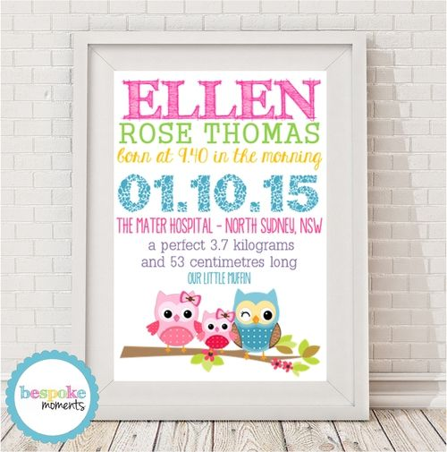 Product image of Classic Owls Birth Print by Bespoke Moments. Worldwide Shipping Available.