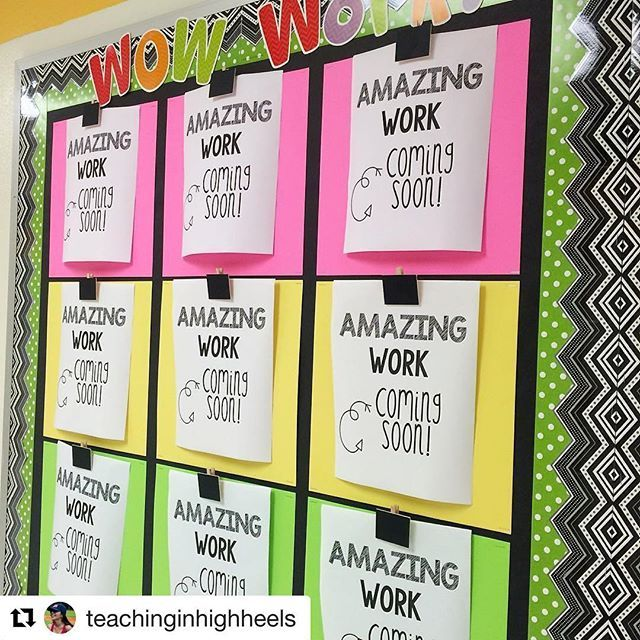 "Check out @teachinginhighheels  amazing idea for Open House!! I can't wait to post a ""coming soon"" sign on our work bulletin board!! @teachinginhighheels with @repostapp ・・・ I've been doing this for the past couple of years. Parents love the anticipation of seeing their child's work displayed and my board doesn't look too plain. Win, win!  How do you display students' work in your classroom? #tptcheckoutmyclassroom"