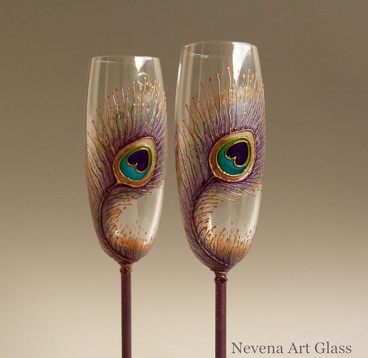 Champagne Flute #Peacock #Wedding Glasses, Hand Painted Set of 2 by NevenaArtGlass on Etsy