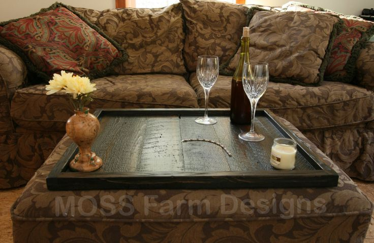 Rustic Serving Tray, Rustic Ottoman Tray, Wooden Tray, Serving Tray, Coffee Table Tray, Rustic Ottoman Tray Decor, Table Top by MossFarmDesigns on Etsy https://www.etsy.com/listing/254943078/rustic-serving-tray-rustic-ottoman-tray