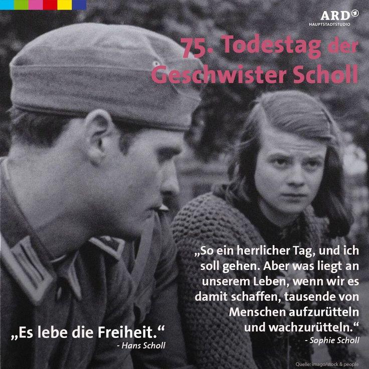 """""""Noch kurz vor ihrer Hinrichtung am 22. Februar 1943 sprachen die Geschwister Scholl von Widerstand & Freiheit. #weißeRose"""""""