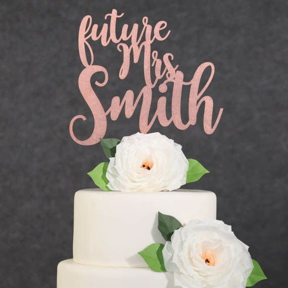 Wedding Cake Topper Rose Gold Future Mrs Custom Last Name