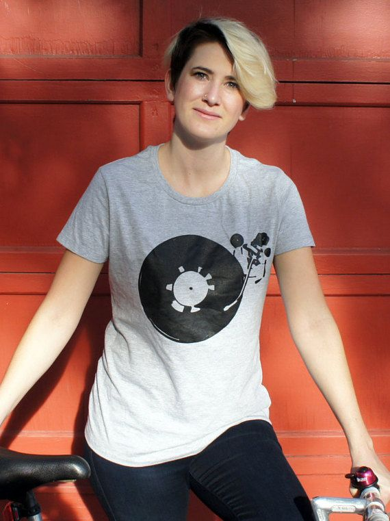 Record player T-shirt music t shirt Womens by diasporaclothing