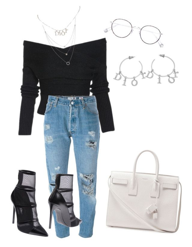 Untitled #17 by distressqn on Polyvore featuring polyvore, fashion, style, RE/DONE, Barbara Bui, Yves Saint Laurent, Christian Dior, Athra Luxe, Ahlem and clothing