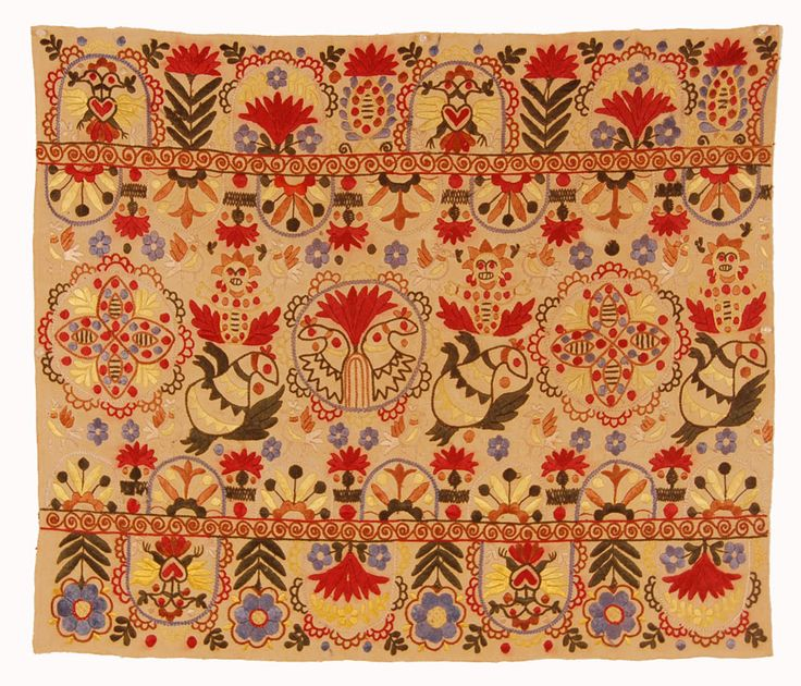 "Crete, Greek Islands, second half 19th century, silk embroidery on cotton., minor bleeding to red dye, some holes. backed and in a stable good condition, 26"" x 31"""